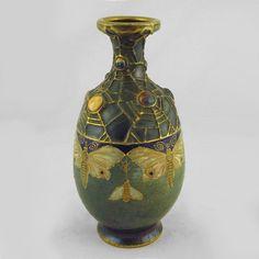 Amphora Jeweled Butterfly & Web Vase. Teplitz, Austria, 1900