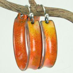 Orange and Yellow Hoop Earrings Copper Enamel