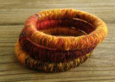 OOAK Yarn Wrapped Soft Fiber Bracelets in Red by tillitlikeitis, $10.00