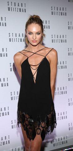 #street #style Candice Swanepoel black lace dress @wachabuy