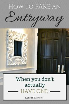5 Ideas for how to make an entryway with storage when you don't have one (it opens RIGHT up to the living room or dining room).  Kylie M Interiors E-Design and Consulting #kylieminteriors #edesign #onlineconsulting #colorconsulting #entryway #decoratingideas #decoratingblog