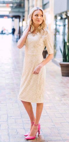 Alaina Dress - Cream lace dress, can be accessorized with a belt or worn alone - cute, feminine modest dress and perfect for dressing up!