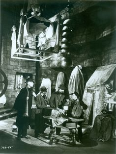 Rare still shot during the filming of a deleted scene shot for Bride of Frankenstein