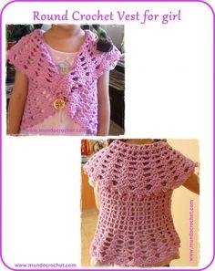 Crochet Patterns Vest Ravelry: Round crochet vest for girl pattern by Soledad Z Crochet Vest Pattern, Crochet Jacket, Crochet Shawl, Free Pattern, Crochet Patterns, Crochet Toddler, Crochet Baby Clothes, Crochet For Kids, Crochet Children