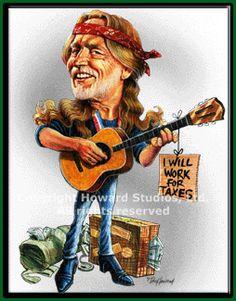 Willie Nelson Caricature by Don Howard  ~ Ʀεƥɪииεð вƴ╭•⊰✿ © Ʀσxʌиʌ Ƭʌиʌ ✿⊱•╮