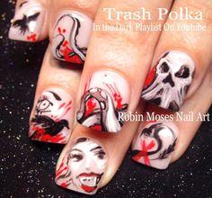 TRASH POLKA NAILS! #trashpolka #halloween #octopus #redandblack #hot #fun #halloweennails #nailart #nails #art #nail #design #tutorial #animal #diy #polish #crazy #punkrock #diy