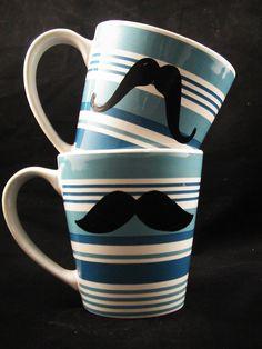 Mustache Mug Blue Stripe set of 2-Handpainted. $22.00, via Etsy. @Alyssa Huot sorry i tag you in everything mustache hahaha