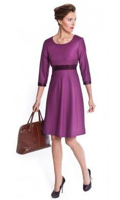 Women's garnet/merlot dress for work made from Super 100s pure wool | The Vanessa by NOOSHIN