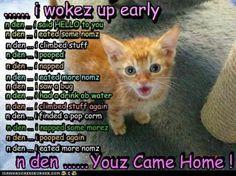 I wokez up early...
