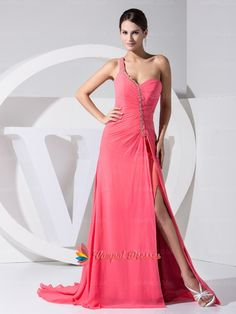 128.00$  Buy here - http://vixha.justgood.pw/vig/item.php?t=ar8w3s856420 - Coral One Shoulder Chiffon Pleated Floor Length Prom Dresses With Pleated