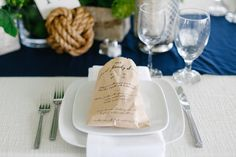 Family Dinner Menu on Bread Bag  Photography: Luke & Katherine Griffin for Max & Friends Read More: http://www.insideweddings.com/weddings/tent-wedding-with-chic-nautical-theme-on-la-playa-bay-in-san-diego/737/