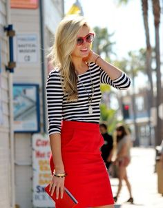 Classic stripes with a red skirt!