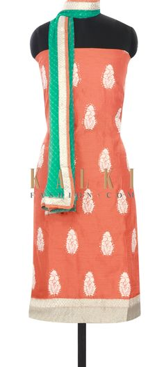 Buy this Orange unstitched suit adorn in thread work only on Kalki