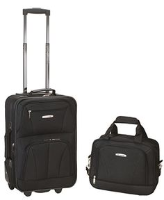 Luggage 2 Piece set Black Rolling Upright Bag and Tote Bag with Full lining New #Rockland