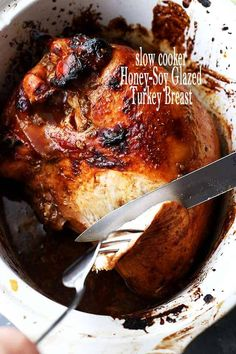 Slow Cooker Honey-Soy Glazed Turkey Breast - Juicy, tender and incredibly delicious turkey breast glazed with a flavorful honey-soy mixture, and prepared in the slow cooker. Turkey Crockpot Recipes, Cooker Recipes, Crockpot Meals, Chicken Recipes, Slow Cooker Turkey, Cooking Turkey, Slow Cooking, Turkey Breast Recipe Oven, Turkey Glaze