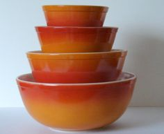 Vintage Pyrex Fire Red to Orange Fade Flameglo found on etsy.com/ sassboxclassics