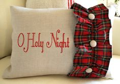 O Holy Night embroidered  12 x 16 Flax Linen Pillow