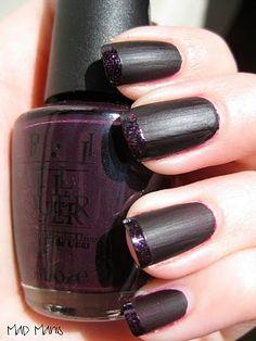 Matte/Flat Black Polish with Glittery Dark Purple French Tips