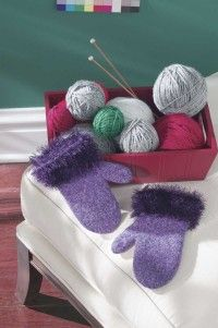 "TLC Home ""Free Fun Felted Mittens Knitting Pattern"" eyelash  yarn cuffs!"