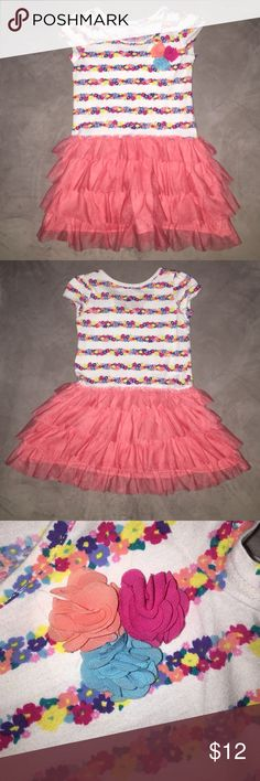 Toddler Dress Short sleeved, Coral Tulle skirt, floral pattern. Worn a handful of times. Adorable! Children's Place Dresses Casual