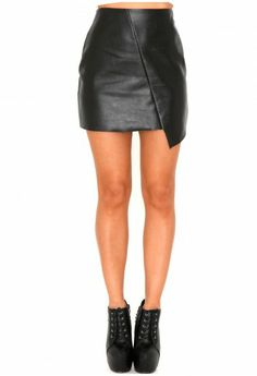 Laetita Faux Leather Asymmetric Mini Skirt - Skirts - Missguided.