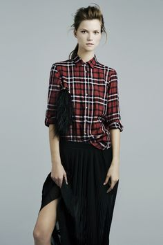 Love the plaid shirt with maxi skirt.