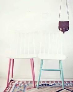 painted chair legs, I actually really like this Dipped Furniture, Paint Furniture, Furniture Projects, Furniture Makeover, Playroom Furniture, Home Interior, Interior Design, Craftsman Interior, Design Design