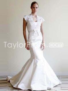 Pretty Trumpet/Mermaid  Strapless Taffeta Wedding Dress