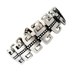 Margot de Taxco Sterling Silver Bracelet Double Greek Key Motif | From a unique collection of vintage link bracelets at https://www.1stdibs.com/jewelry/bracelets/link-bracelets/