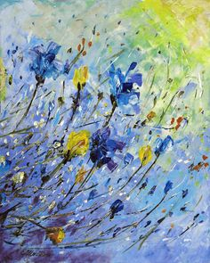 Original Acrylic Painting, Abstract Spring Flowers Blue and Yellow, Modern Wall Art Floral Decor, Elena Schnaider Artworks