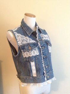 Make an old denim vest a girly girl look by adding rows of lace on the pockets & as trim on the collar.