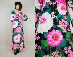 1970s neon metallic floral maxi dress // noirohio vintage