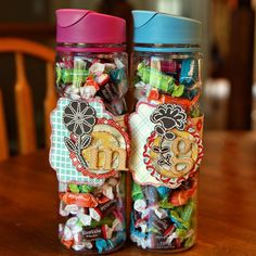 Back to school teacher gift ~ water bottle filled with candy wrapped with a cute personalized gift tag ~ easy peasy and so appreciated.