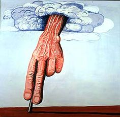 shows a painting by Philip Guston called The Line. It features a large veiny hand emerging from a cloud - reaching to the earth.
