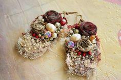 Shabby chic earrings Victorian Earrings Romantic by PintOfTint