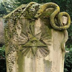 """""""Detail of a grave at the Melaten Cemetery, Cologne. This one is highly remarkable because of its rich symbolism."""" Dr. Franz Leuffen was the author of a book on post-mortem examinations, written in the 1860s. He died in 1900."""
