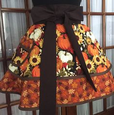 Fall Apron Thanksgiving Apron Autumn Apron by CookedWithLoveAprons Retro Apron Patterns, Cute Aprons, Retro Pin Up, Half Apron, Full Circle Skirts, Kitchen Aprons, Have A Beautiful Day, Dish Towels, Sowing Projects