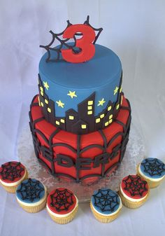 Spiderman Birthday Cake and Cupcakes