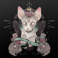 Blind-eyed sphynx cat portrait with meow stripe and mice tattoo design