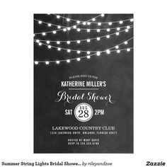 Summer String Lights Bridal Shower Invitation Chic modern summer wedding engagement party invitation design with simple elegant glowing string lights hanging across the top and a classy mix of modern and calligraphy script fonts on a printed faux watercolor texture background. A simple and stylish preppy design, perfect for summer! Click the CUSTOMIZE IT button to customize fonts, move text around and create your own unique one-of-a-kind invitation design.