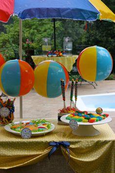 Splish Splash Pool Party Theme. Twizlers, Beach balls hanging...