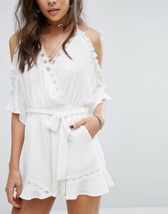 Kiss The Sky Cold Shoulder Romper With Ruffle Hem