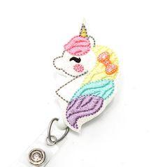 Feltie Badge Pull Nurse Badge Holder Glitter Unicorn Retractable ID Badge Holder Felt Badge Reel