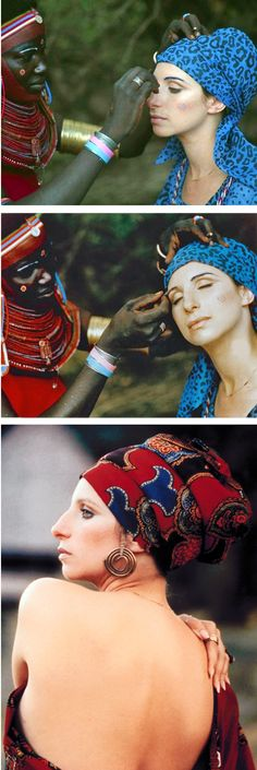 (Above: Photos of Streisand in Africa. Barbra donned several native garments and was photographed with people of the Samburu community.)