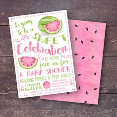 Watermelon Baby Shower Invitation BBQ Baby by BloomberryDesigns