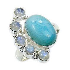 'Blue Paradise' Sterling Silver Natural Caribbean Larimar, Moonstone Ring, Size 9.25