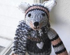 Hand Knit Cat  Childrens Plush Doll Knit Toy Cat  by VeryCarey, $50.00