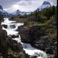 Cascading river flowing out of Swiftcurrent Lake, Glacier National Park #Canmore #Banff