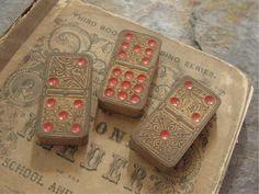 Vintage Wood Fancy Ornate Dominoes Very Old Mixed Media Supplies (3)
