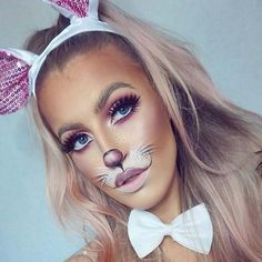 Pretty and Cute Bunny Makeup Idea for Halloween